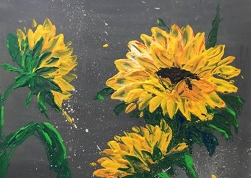 arty artistic  contemporary , sunflowers, sunflower, yellow, grey, impasto, palette knife, original, flowers, floral, bright, colourful, cheerful personalised online greeting card