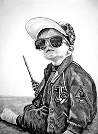 General artwork boy child monochrome for-children personalised online greeting card