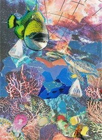 general Collage, fish, under water, sea, shopping, blue, Everyday Art, General, abstract, congratulations, Thank you, birthday, friend,  personalised online greeting card