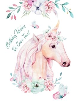 Birthday Unicorn, Fantasy, Mystical,  personalised online greeting card