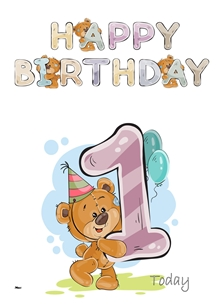 Her Nibs  Teddy 1 Birthday children For Children Water Colour Teddy Age 1 personalised online greeting card