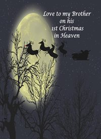 Christmas Night Santa Reindeer Moon Trees Sad brother heaven z%a personalised online greeting card