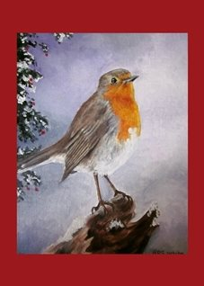fineart Robins redbreast birds oils mums dads christmas for-him for-her general blank all occasions art him her winter trees leaves twigs snow holly fineart wildlife nature british feathers personalised online greeting card