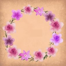 General pink peach flowers floral cricle wreath personalised online greeting card