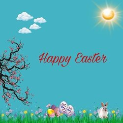 Easter eggs, bunnies, sun, tree, animals z%a personalised online greeting card