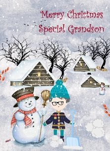 Christmas Snowman Boy Houses Trees Shovel Snowballs Blue White Red grandson for-children Wholesale personalised online greeting card