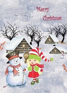 Christmas Houses Girl Trees Snowman Acorns Berries White Blue Red Green Brown for-children Wholesale personalised online greeting card