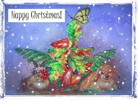 Christmas  sweet snow love  nature rabbits bunnies z%a personalised online greeting card