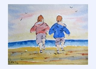 Art Beach, Children, Seaside, Sea, Sand, Coastal, Norfolk,  Holidays, memories, fun, run, holding hands, together, personalised online greeting card