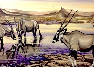 Art By Three  Oryx At Sunset General Art oryxs wildlife waterholes animals  for-him for-her wildlife safari nature africa purple sky reflections landscapes oils general blank all occasions art him her  personalised online greeting card