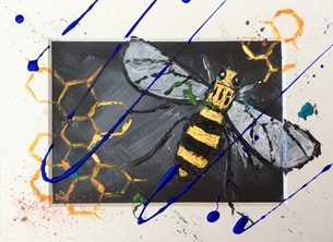 General Manchester Bee, bees, bee, busy bee, textured art, textured, save the bees,  personalised online greeting card