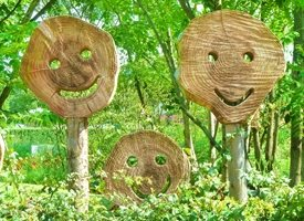 General smile happy green wood faces art for-him for-her for-child personalised online greeting card