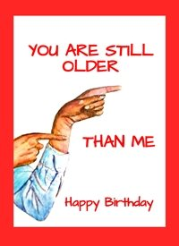 EmilyJane Older Than Me Birthday artwork hands fingers 50 50th 60  65  70 75 80 for-him for-her personalised online greeting card
