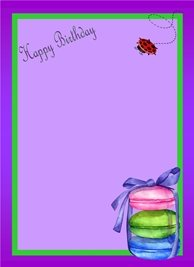General Macaroons Ribbon Lady Bird Purple Green Pink Happy  personalised online greeting card
