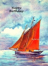 Birthday  art artwork boats sea coast water  for-him personalised online greeting card