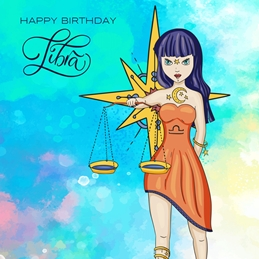 Birthday BIRTHDAY LIBRA zodiac personalised online greeting card