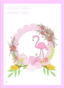 General Flamingo Flowers Garland Pink Yellow White Green  Birthday wedding anniversary  personalised online greeting card