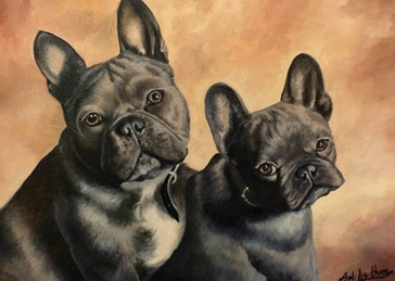 General Art dogs pets animals french bulldogs for-him for-her for-child cute grey nature two friends oils  general blank all occasions art him her  personalised online greeting card