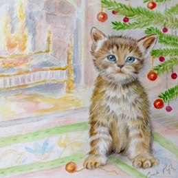 Kitten with baubles