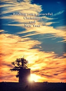 christmas year Christmas, Xmas, sunset, animals, meadow, tower, sunlight, warm, serene, peaceful, tranquil, northern ireland personalised online greeting card