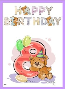 birthday children  Teddy Bear Number 8 Hat Balloons Purple Yellow Blue Pink Happy  personalised online greeting card