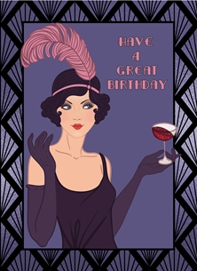 Birthday Art Deco, Retro, Girl, Purple, Black, Cocktail personalised online greeting card