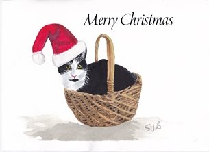 Christmas Cat, Basket  hat  personalised online greeting card