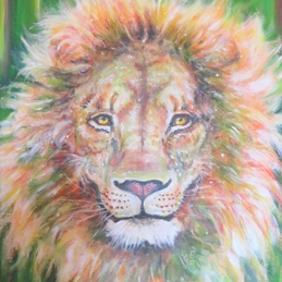Art general lion, leo, king, zodiac sign, jungle, animals, wild, African, big cats, wildlife, for-him personalised online greeting card
