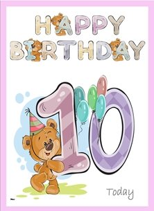 birthday children  Teddy Bear Number 10 Hat Balloons Purple Blue Pink Green Yellow Happy  personalised online greeting card