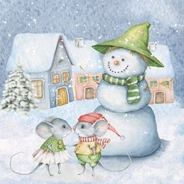 art christmas snowman mice celebrate family friends personalised online greeting card