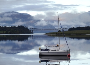 photography Yacht, Boating, Scottish Loch, Lake, scenery, Birthday card, for him, dad, brother, boy, waterside, reflections, mountains, tranquility, still water personalised online greeting card