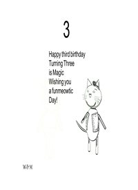 Birthday children for-child, Meow, black and white, uplifting personalised online greeting card