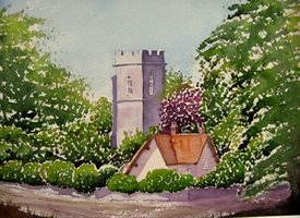 General art Church, Cottage, Landscape, Caister, Norfolk, village, rural, Countryside. personalised online greeting card