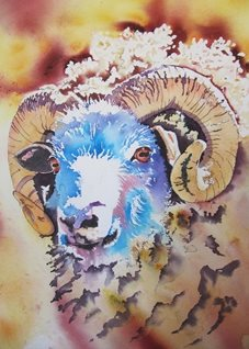 art Sheep, Ram, horns, animals, farm,  landscape, golden, blue, personalised online greeting card
