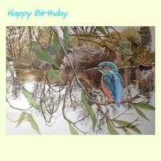 Wildart Just fishing Birthday birds canal animals trees water personalised online greeting card