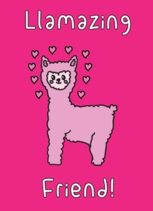 General Amazing, Friend, Llama, Alpaca, Pun, Kawaii, Fun, Thank you, Birthday, Llamazing personalised online greeting card