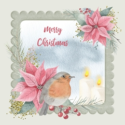 christmas Robin, Bird, Candles, Poinsettas, Flowers,  personalised online greeting card