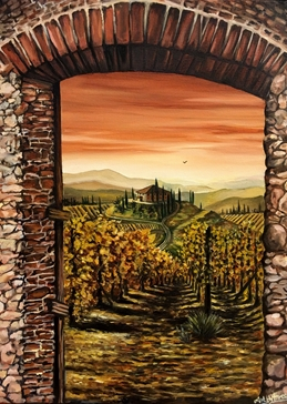 Art By Three  Tuscan Hilltop- Val D'Orcia Art Tuscany Italy vineyards countryside hills mountains for-her for-him sunset trees romantic villas Val d'orcia archways landscapes wine  personalised online greeting card