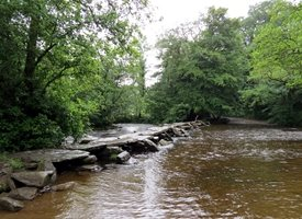 Photography Tarr steps stones  Dulverton  Exmoor Somerset  clapper bridge river Barle water personalised online greeting card