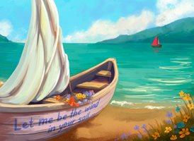 art Wind Sail boat z%a personalised online greeting card