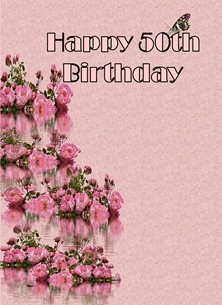 Birthday For-Her 50th Flowers Butterfly Pink Black Happy personalised online greeting card