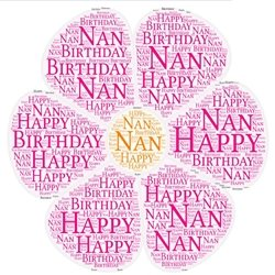 Birthday nan flower nature pink  personalised online greeting card