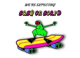 Baby Frog Skateboard expecting animals personalised online greeting card