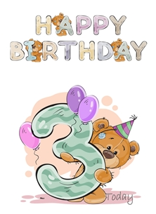 Birthday children For Children Water Colour Teddy Age 3 personalised online greeting card