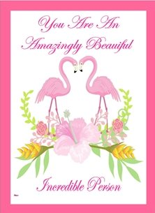 general Flamingos Flowers Inspirational Pink White Yellow Happy   personalised online greeting card