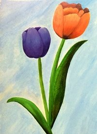 General Tulips orange blue red light love  green nature art personalised online greeting card