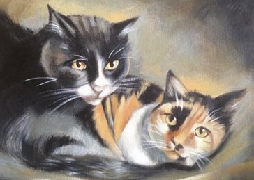 Mary Dodd Art Liz's Cats art 2 Cats tabby black and white birthday anniversary  portrait  personalised online greeting card