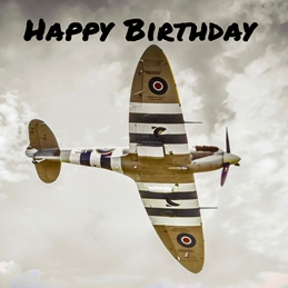 Spitfire square birthday card