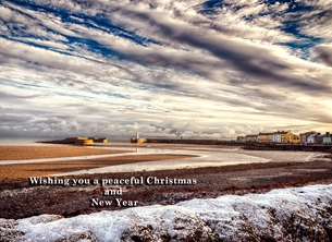 christmas year Christmas, Xmas, snow, harbour, coast, sea. seaside, winter, warm, peaceful, serene, tranquil, northern ireland personalised online greeting card
