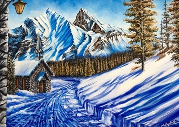 Art  Christmas  snow mountains paths walk chapels church steeples chalets huts blue white sky trees austria switzerland alps lamps lantern forests rocks sun shadows pine trees mountains peaks alpine scene winter christmas for-him for-her  personalised online greeting card